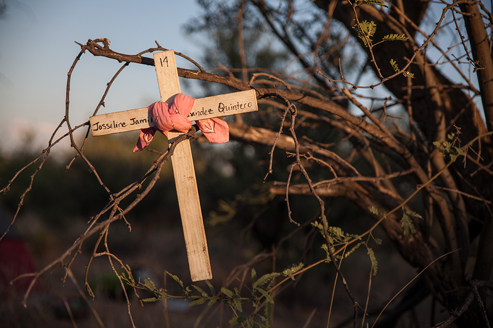 This cross is a reminder of 14-year-old Josseline Jamileth Hernández Quinteros from El Salvador, who died while crossing the desert.